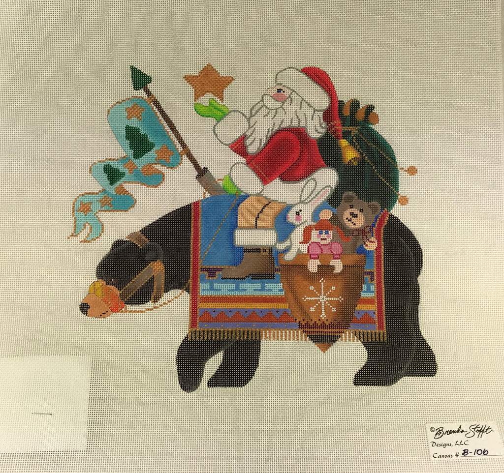 Brenda Stofft Design B106 Santa on Black Bear