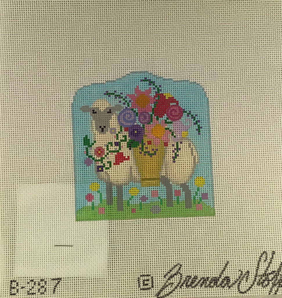 Brenda Stofft Design B287 Sheep with Flower Basket