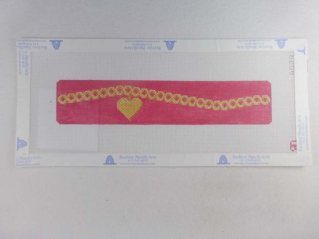 Rachel Donley Needlepointe RD BO29 Gold Heart on Pink Cuff