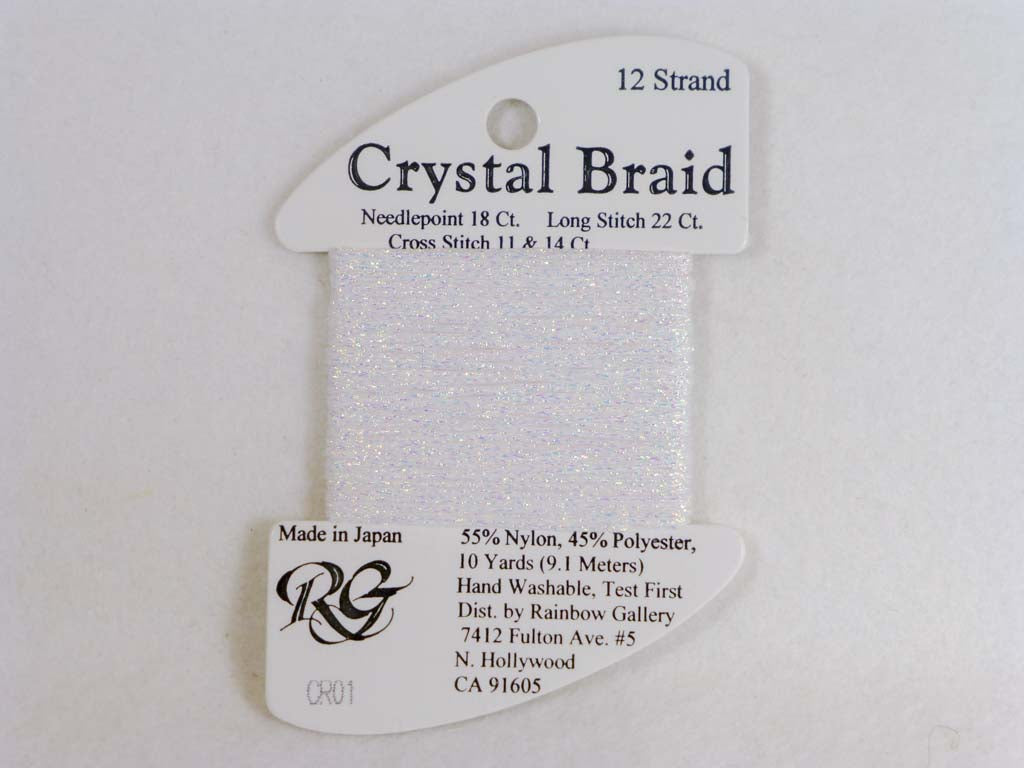 Crystal Braid CR01 White Pearl by Rainbow Gallery From Beehive Needle Arts