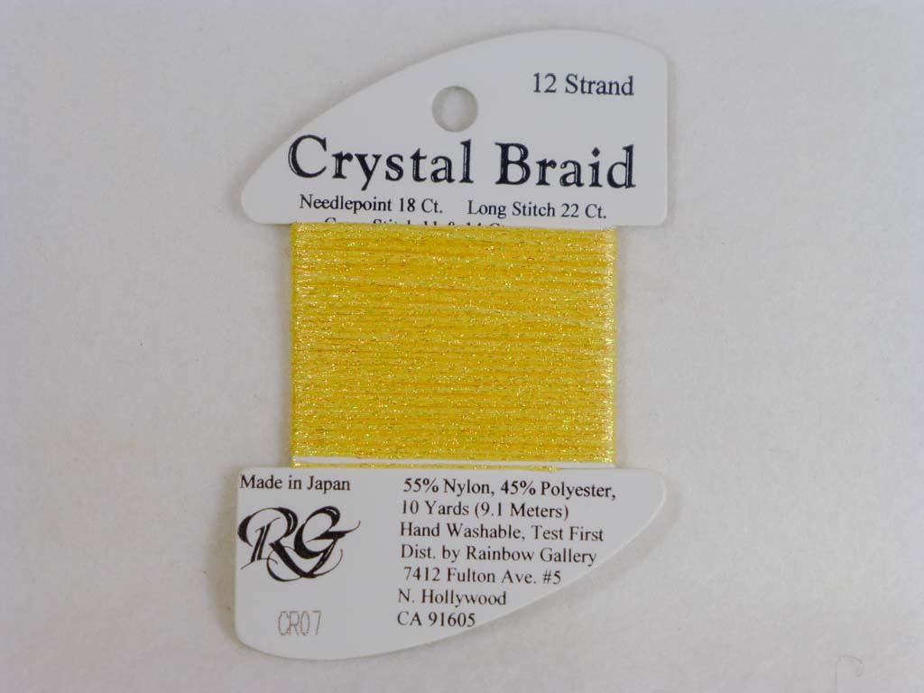 Crystal Braid CR07 Yellow by Rainbow Gallery From Beehive Needle Arts