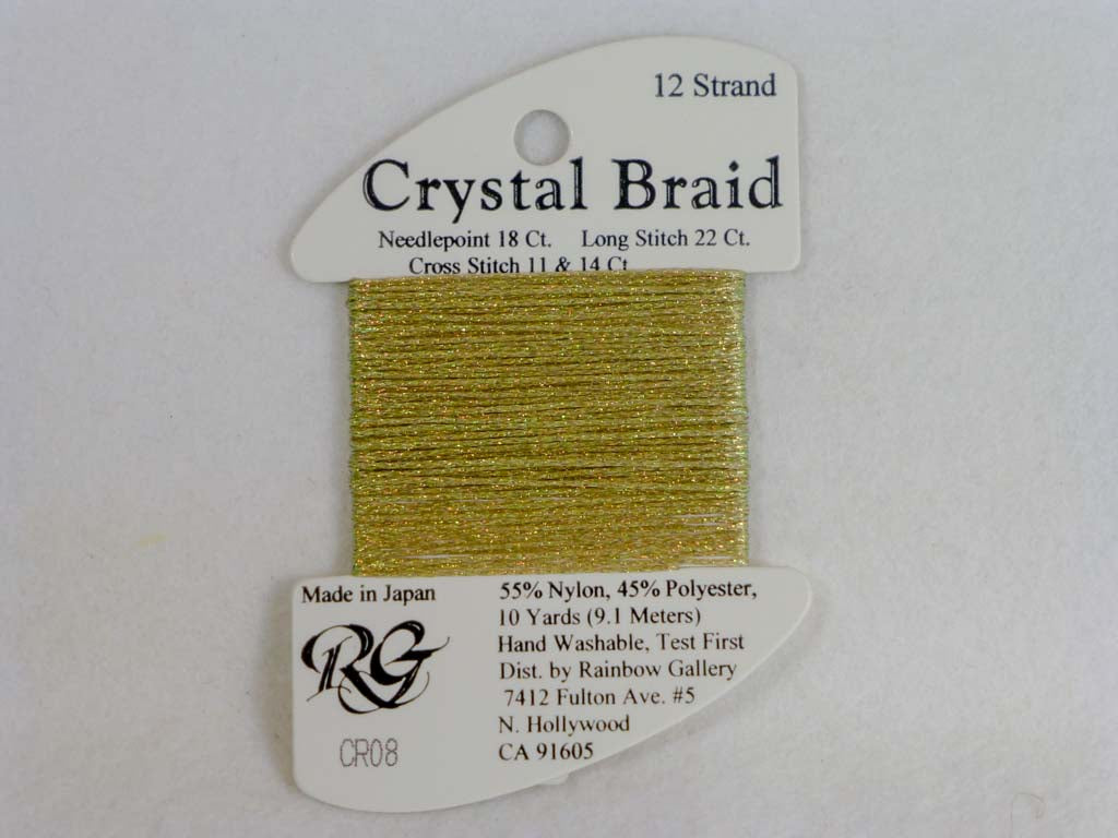 Crystal Braid CR08 Old Gold by Rainbow Gallery From Beehive Needle Arts