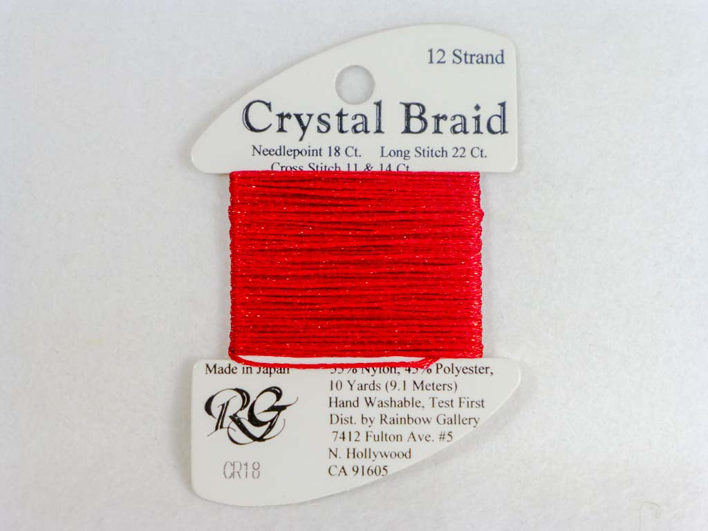 Crystal Braid CR18 Brite Red by Rainbow Gallery From Beehive Needle Arts