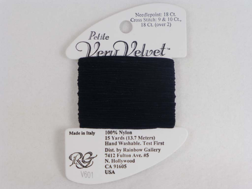 Petite Very Velvet V601 Black by Rainbow Gallery From Beehive Needle Arts