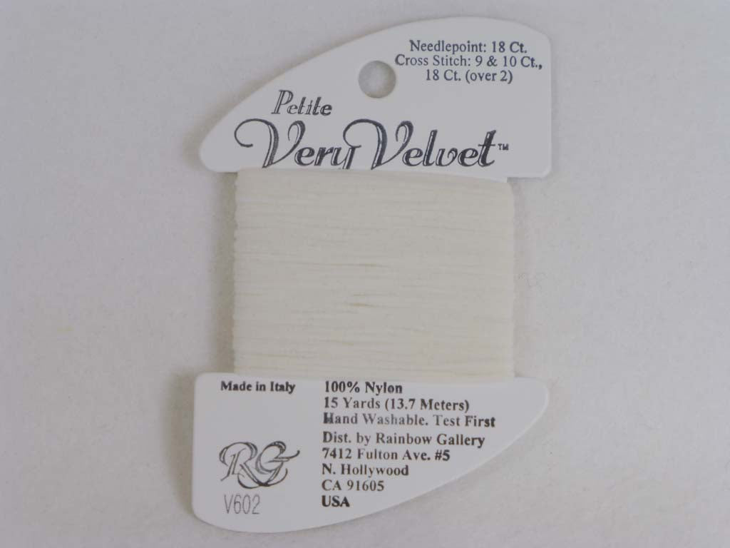 Petite Very Velvet V602 White by Rainbow Gallery From Beehive Needle Arts
