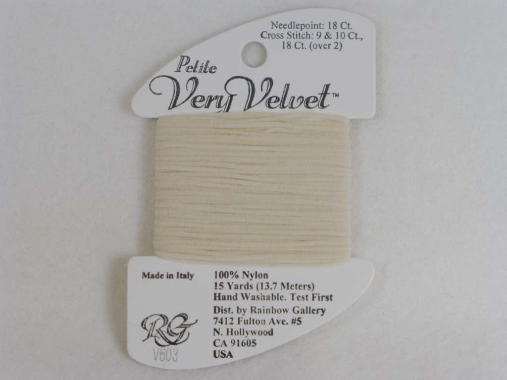 Petite Very Velvet V603 Ecru by Rainbow Gallery From Beehive Needle Arts