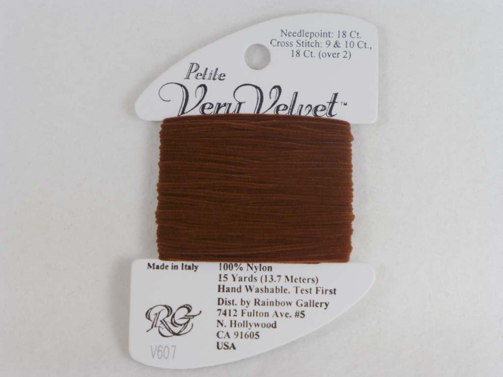 Petite Very Velvet V607 Warm Brown by Rainbow Gallery From Beehive Needle Arts