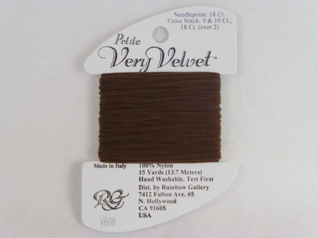 Petite Very Velvet V608 Dark Brown by Rainbow Gallery From Beehive Needle Arts
