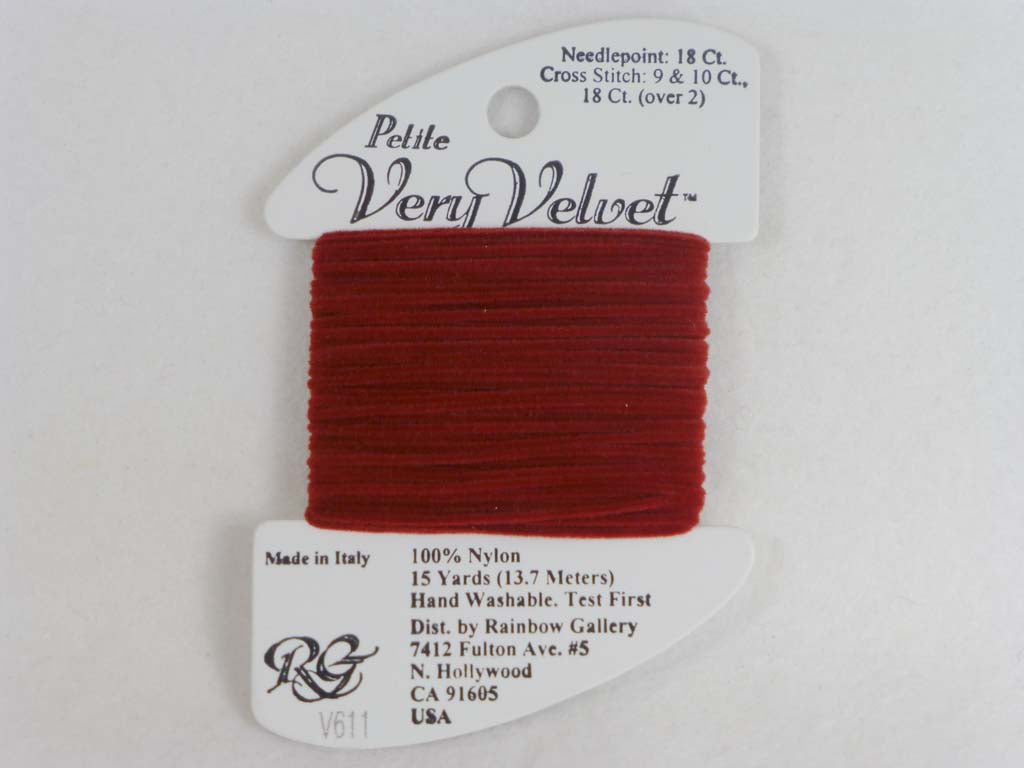 Petite Very Velvet V611 Brick Red by Rainbow Gallery From Beehive Needle Arts