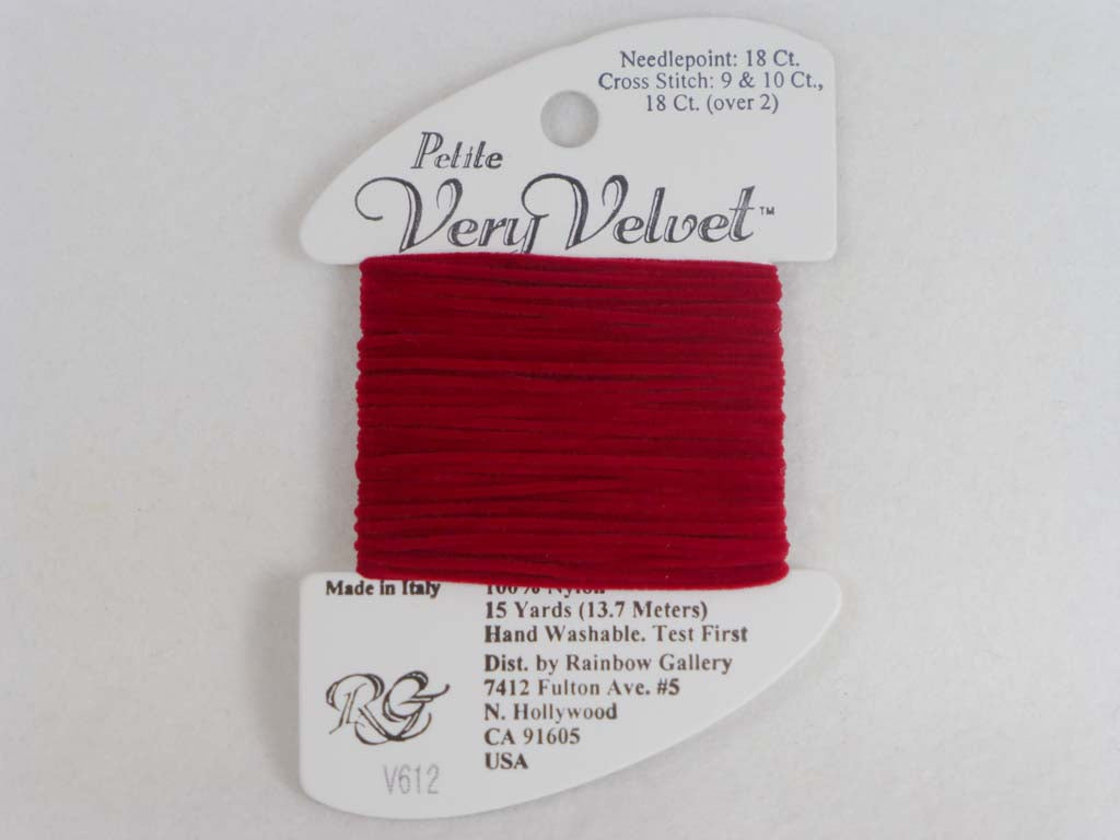 Petite Very Velvet V612 Cherry Red by Rainbow Gallery From Beehive Needle Arts