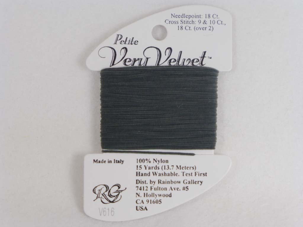 Petite Very Velvet V616 Dark Gray by Rainbow Gallery From Beehive Needle Arts