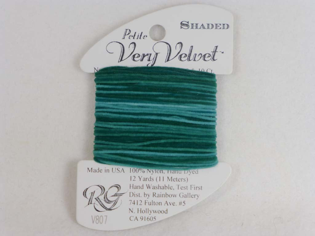 Shaded Very Velvet V807 Pine Greens by Rainbow Gallery From Beehive Needle Arts
