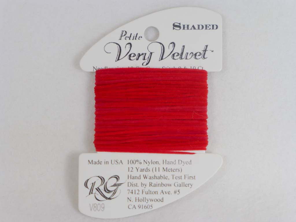 Shaded Very Velvet V809 Holiday Reds by Rainbow Gallery From Beehive Needle Arts