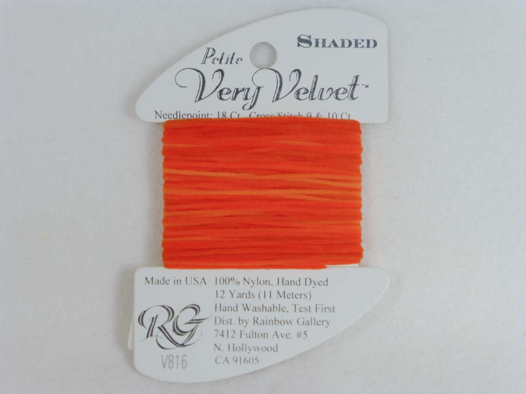 Shaded Very Velvet V816 Brite Oranges by Rainbow Gallery From Beehive Needle Arts
