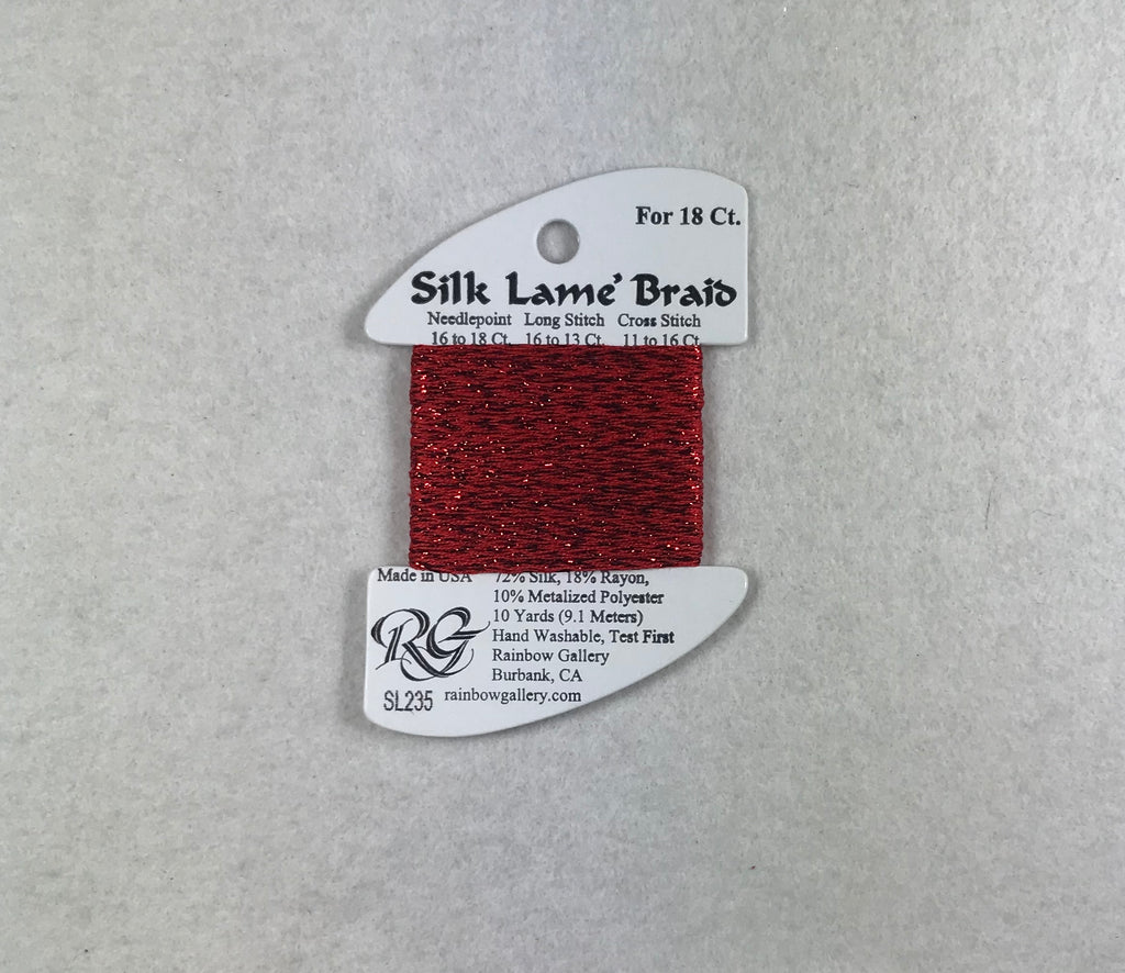 Silk Lame Braid SL235 Flame Scarlet