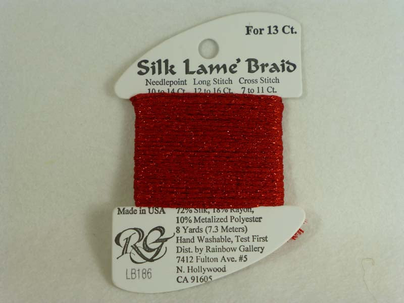 Silk Lame Braid LB186 Fiery Red