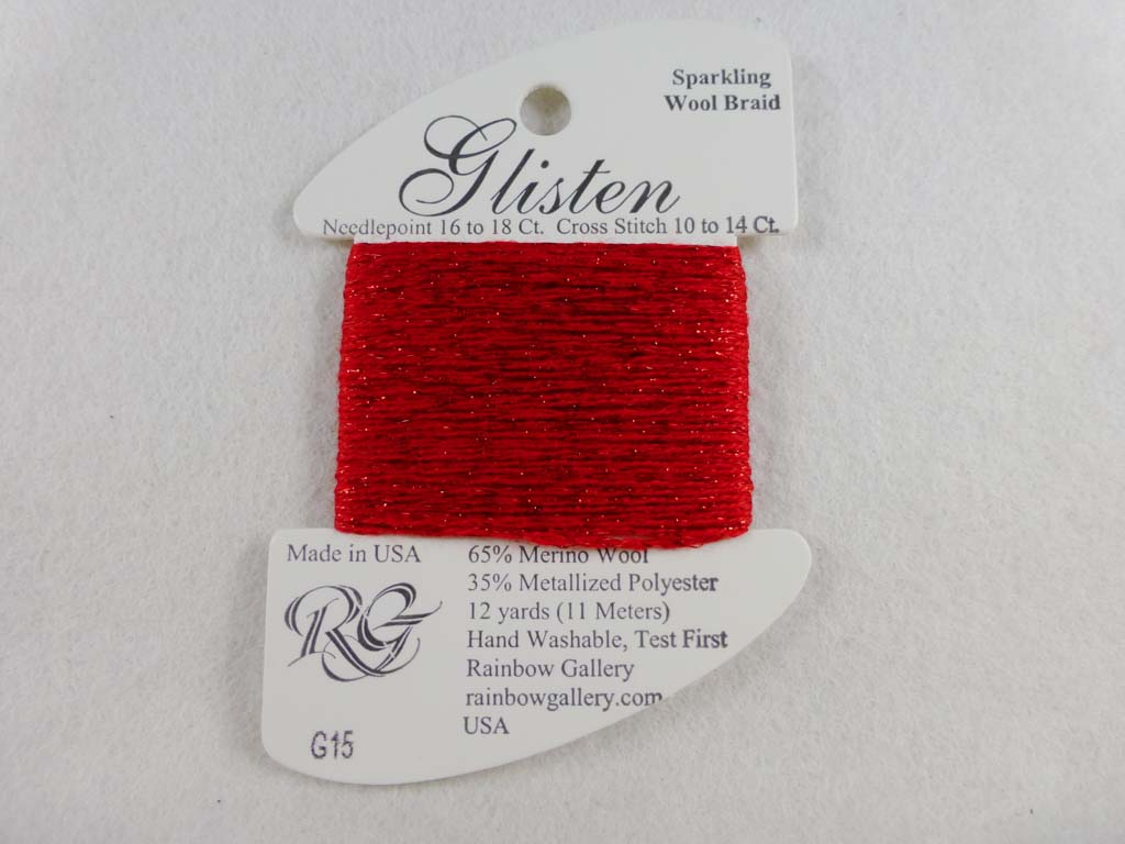 Glisten G15 High Risk Red by Rainbow Gallery From Beehive Needle Arts