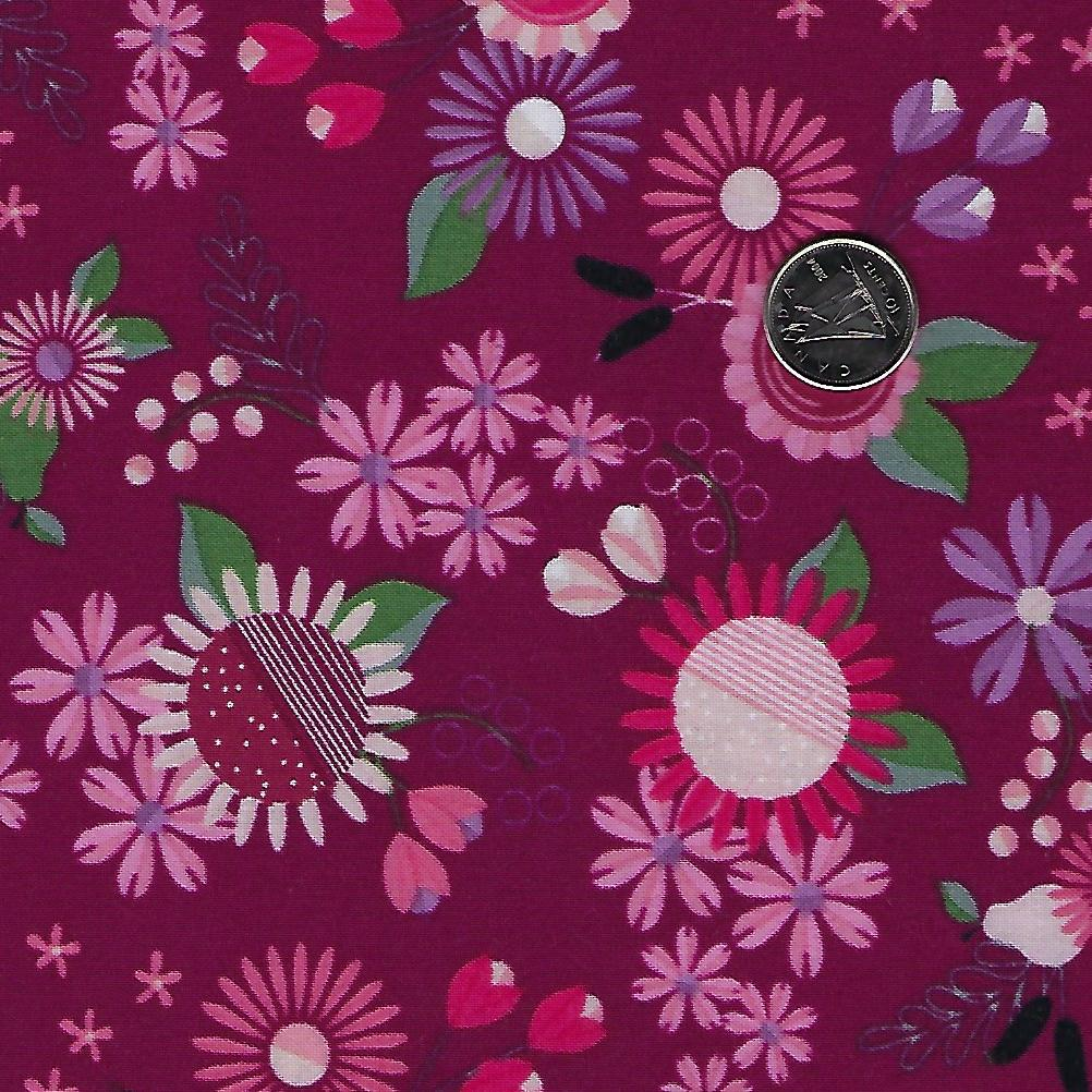 Rosewood by meags & me for Clothworks - Wine Prairie Flowers