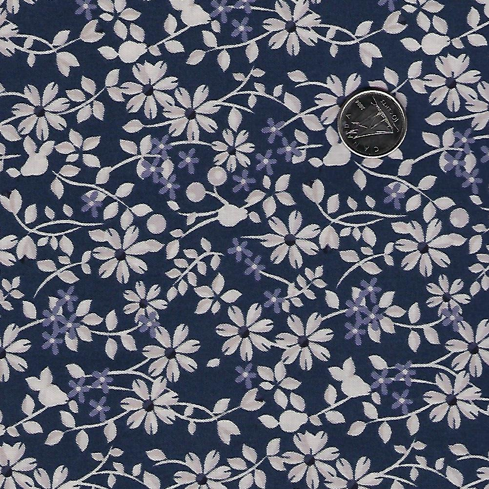 Rosewood by meags & me for Clothworks - Light Navy Vine Floral