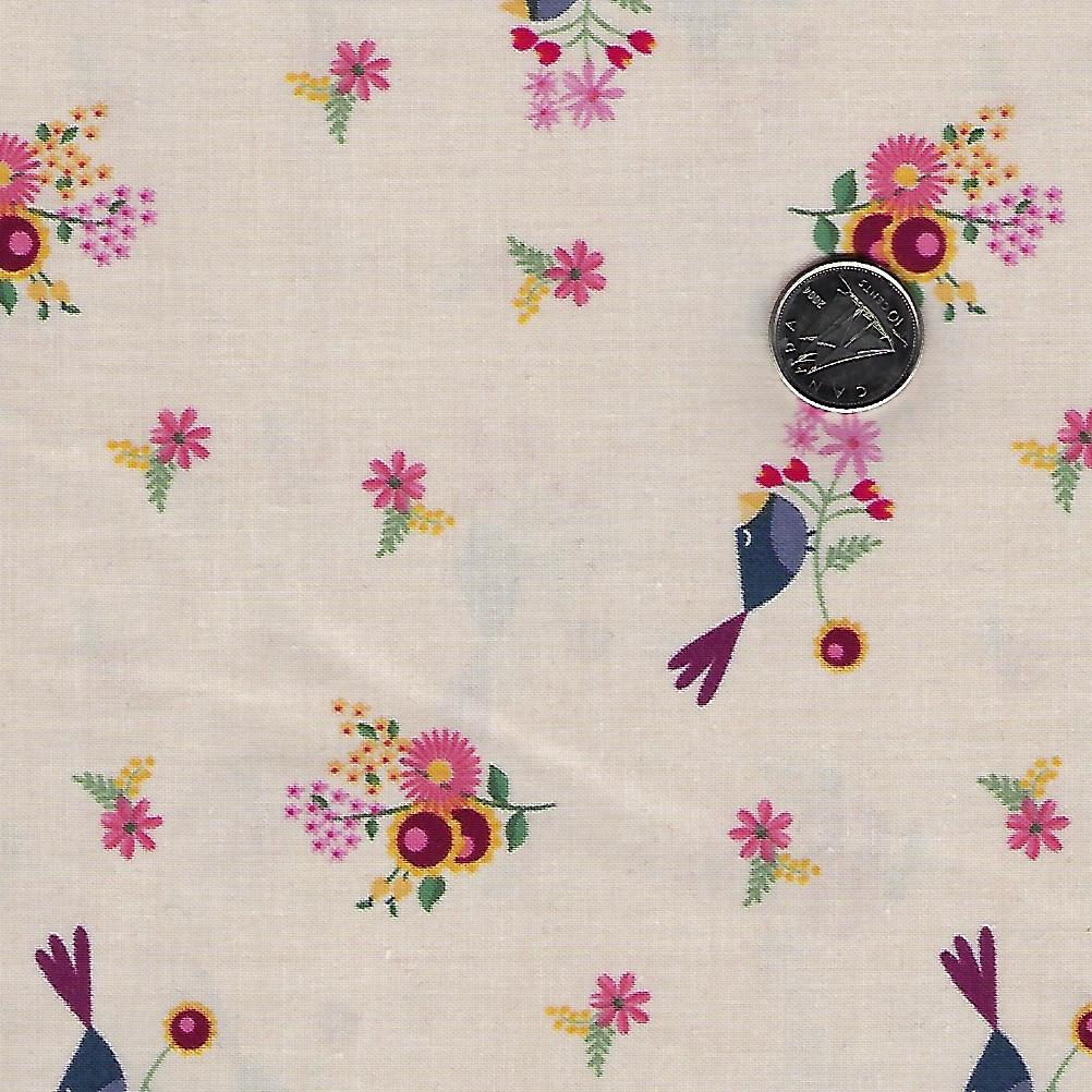 Rosewood by meags & me for Clothworks - Light Khaki Petite Birds and Flowers