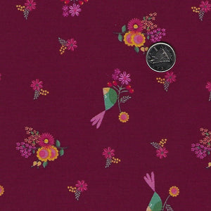 Rosewood by meags & me for Clothworks - Wine Petite Birds and Flowers
