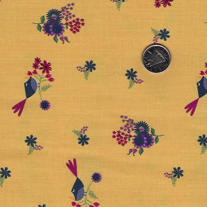 Rosewood by meags & me for Clothworks - Dark Gold Petite Birds and Flowers