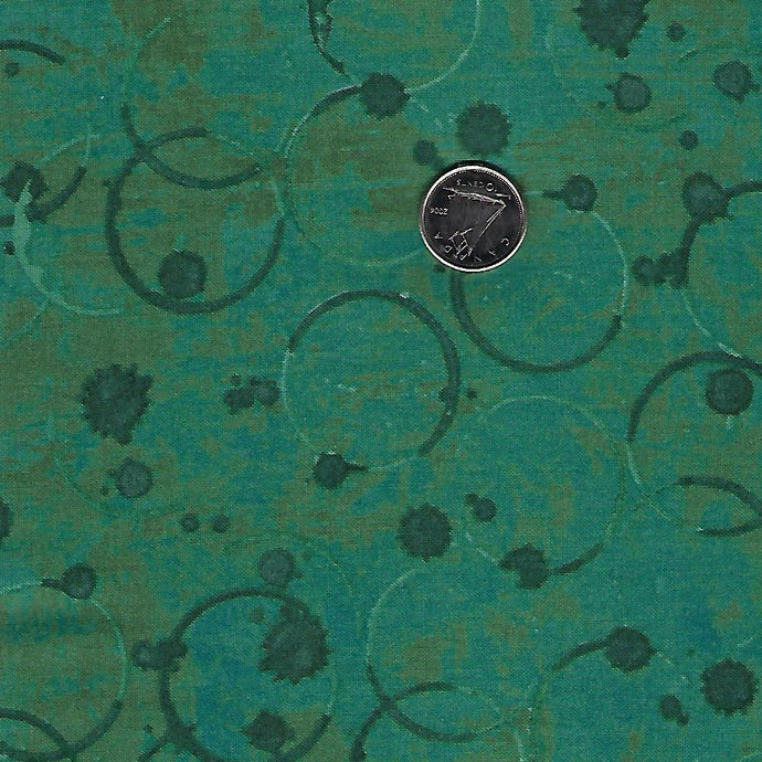 Coffee Shop by Clothworks Dark Turquoise Coffee Stains