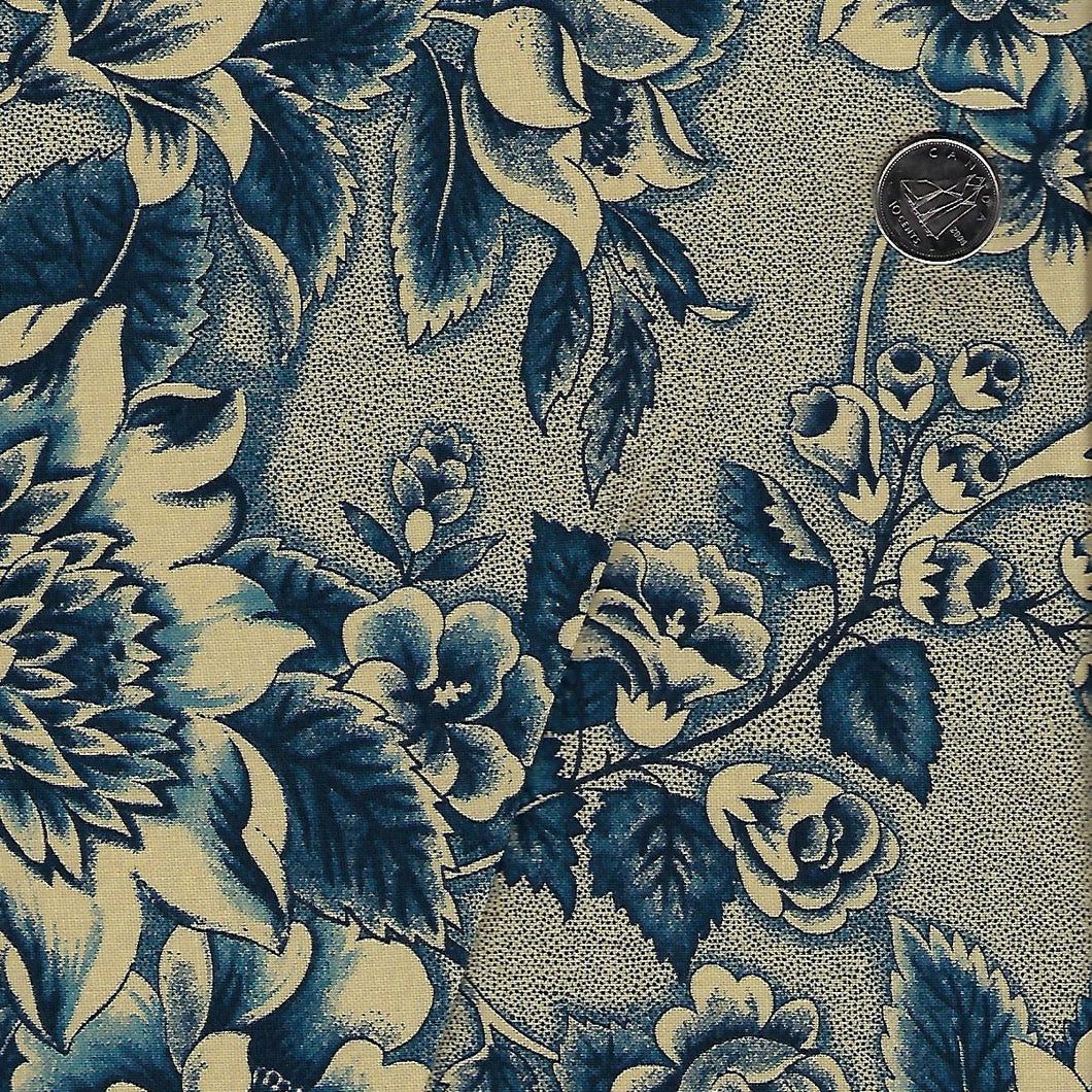 Sarah's Story 1830-1850 by Betsy Chutchian for Moda - Background Indigo Floral Abundance