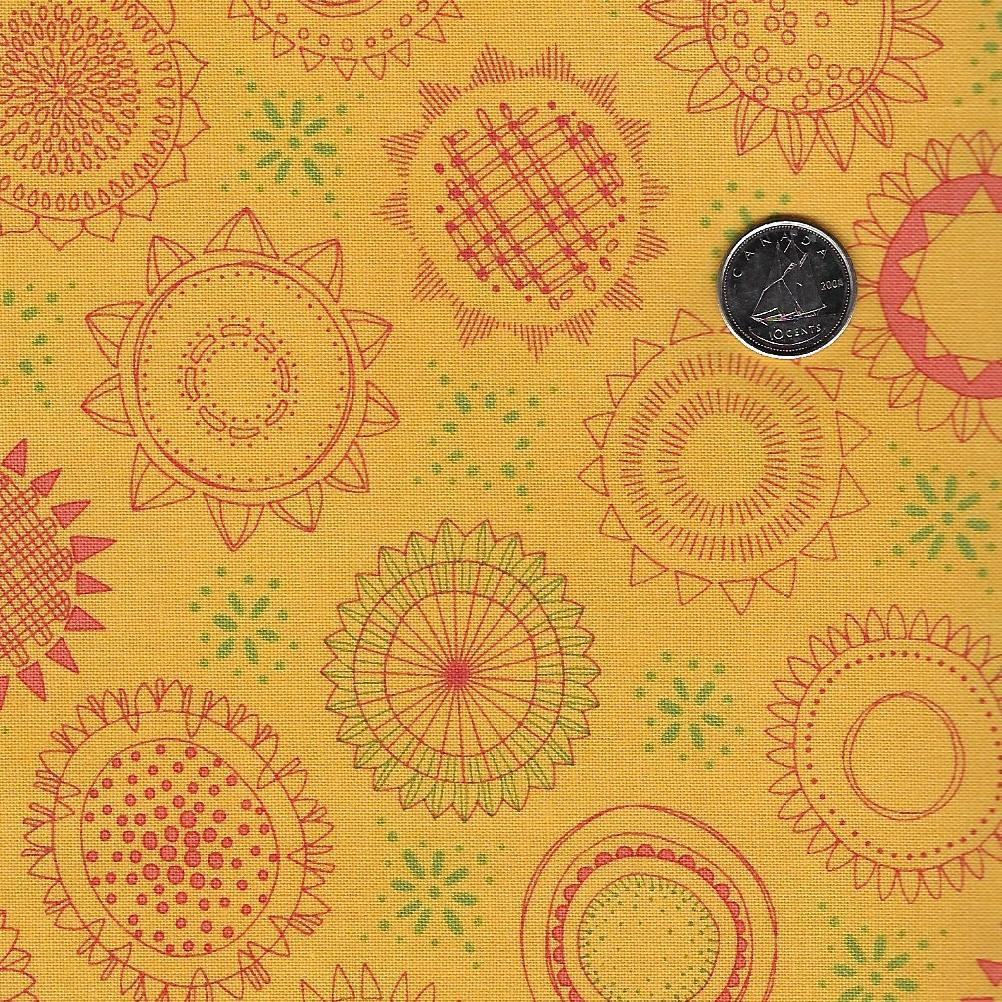 Solana by Robin Pickens for Moda - Background Buttercup Sunflower Medallions