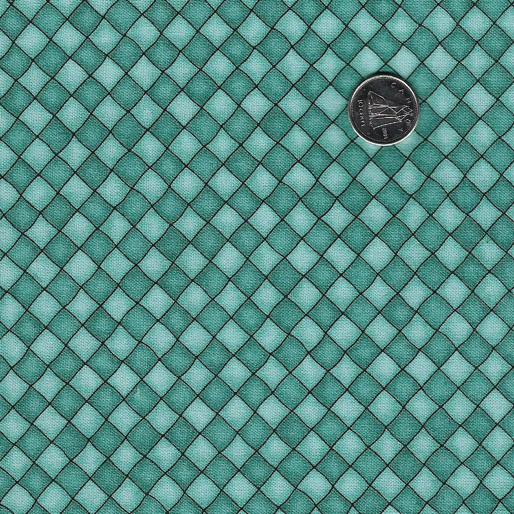 Happiness is Homemade by Kris Lammers for Maywood Studio - Background Turquoise Checkered