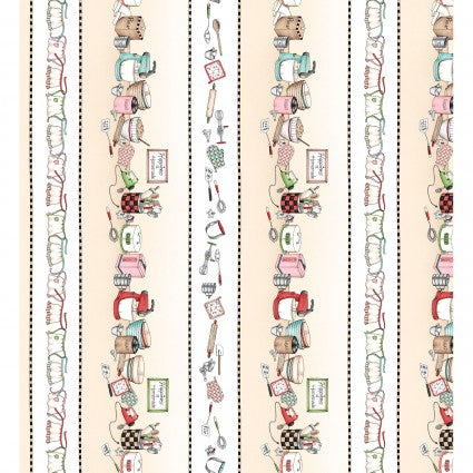 Happiness is Homemade by Kris Lammers for Maywood Studio - Border Print Background Cream