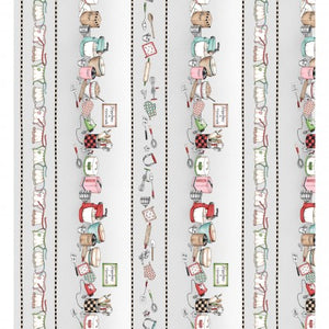 Happiness is Homemade by Kris Lammers for Maywood Studio - Border Print Background Grey