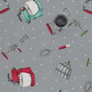 Happiness is Homemade by Kris Lammers for Maywood Studio - Background Grey Baking Tools
