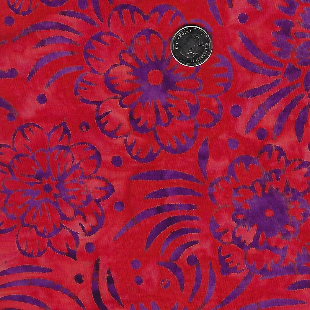 Batik Mango Tango Red Purple Flowers