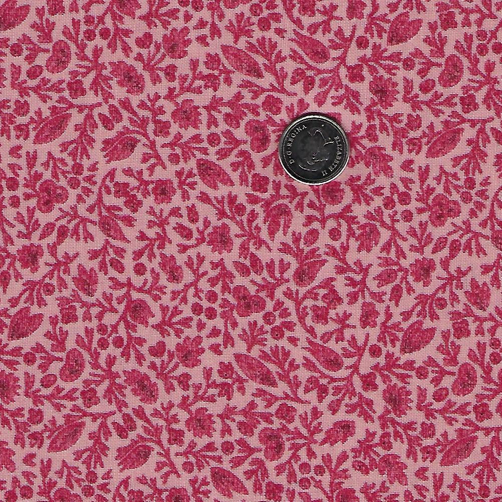 Chafarcani by French General for Moda - Rouge Pale Rose Calico Flowers and Leaves