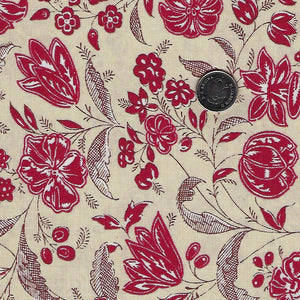 Chafarcani by French General for Moda - Rouge Pearl Flowers and Leave