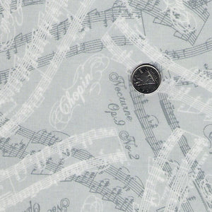 Nocturne by Maywood Studio - Grey & White Musical Notations