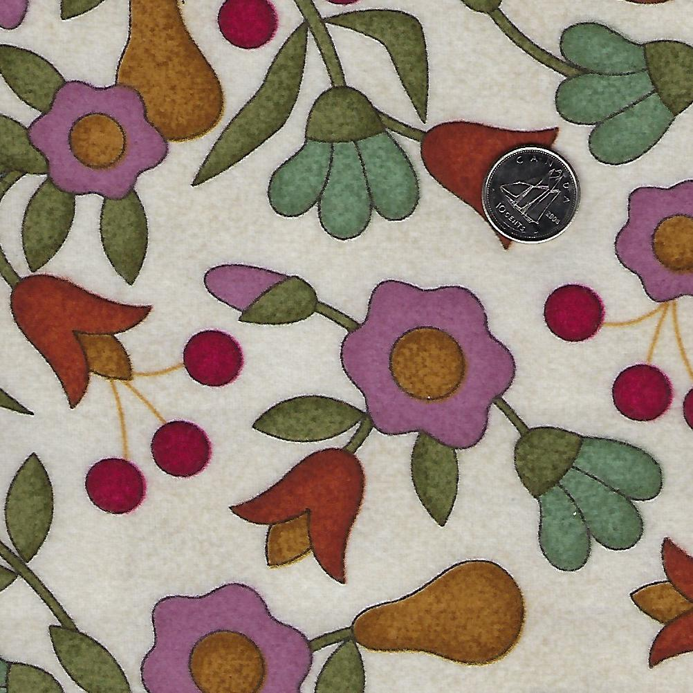 Home Sweet Home Flannel by Bonnie Sullivan for Maywood Studio - Background Ivory Flowers and Pears