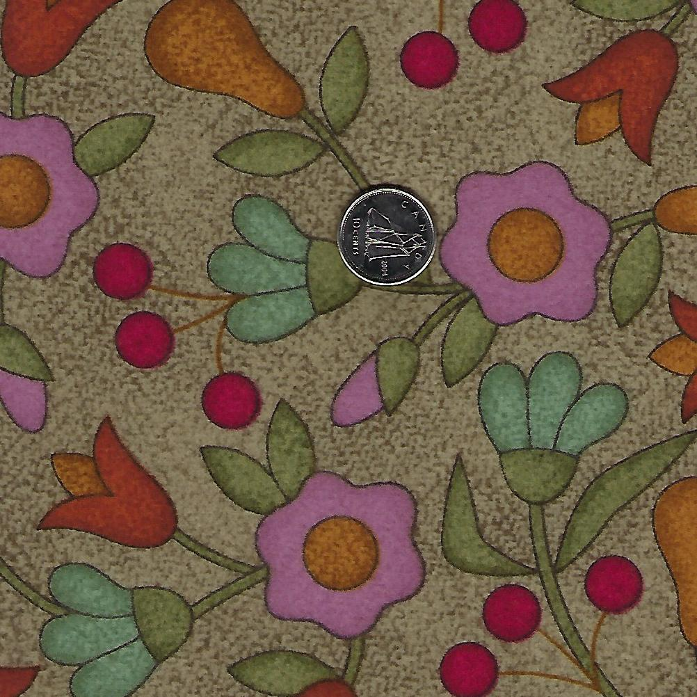 Home Sweet Home Flannel par Bonnie Sullivan pour Maywood Studio - Background Taupe Flowers and Pears
