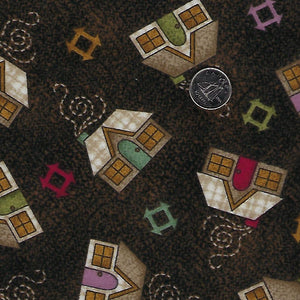 Home Sweet Home Flannel par Bonnie Sullivan pour Maywood Studio - Background Brown Houses
