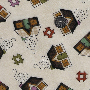 Home Sweet Home Flannel by Bonnie Sullivan for Maywood Studio - Background Ivory Houses