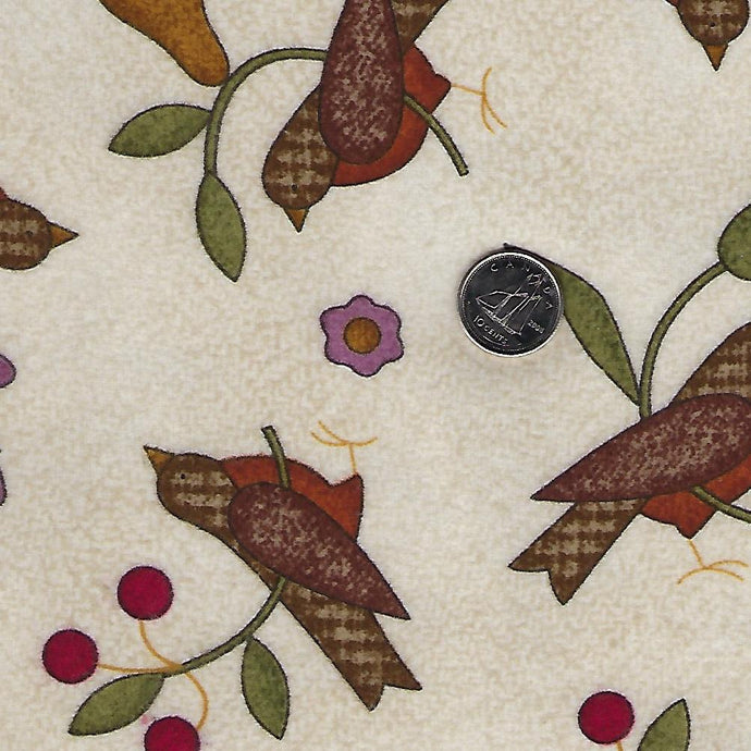 Home Sweet Home Flannel by Bonnie Sullivan for Maywood Studio - Background Ivory Birds