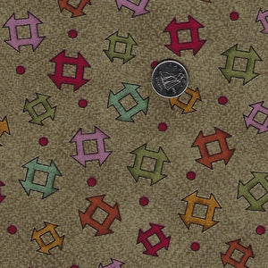 Home Sweet Home Flannel par Bonnie Sullivan pour Maywood Studio - Background Taupe Churn Dashes