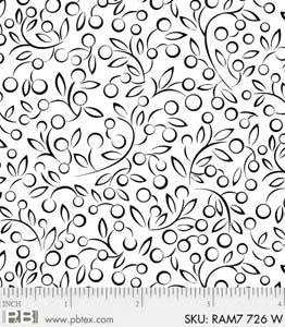 Rambling Fun by P&B Textiles - White Tone on Tone Berries & Leaves