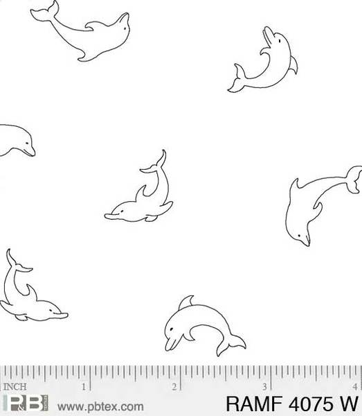 Rambling Fun by P&B Textiles - White Tone on Tone Dolphins
