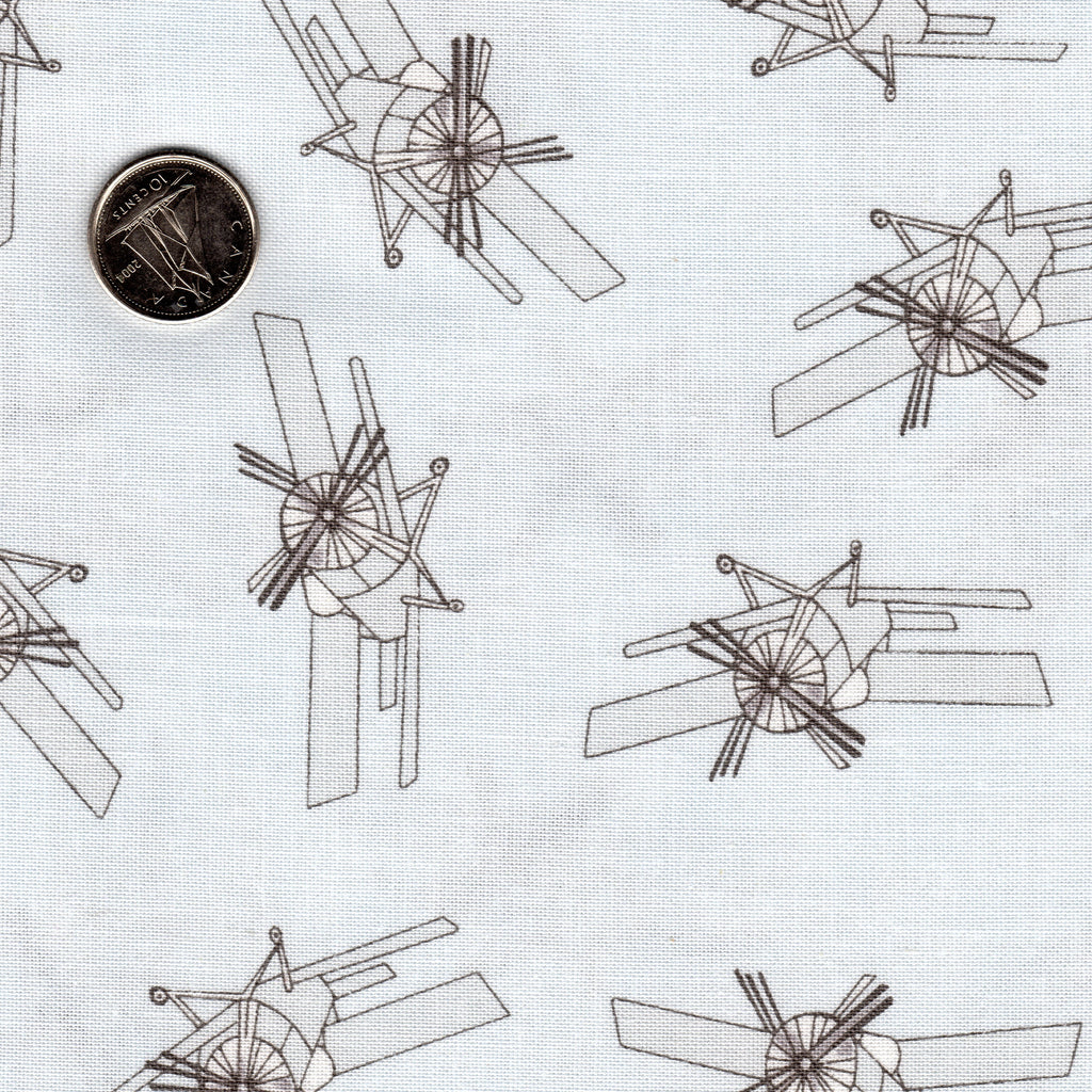 Mighty Machines by Lydia Nelson for Moda Sky High Background is a Very Light Gray Airplane