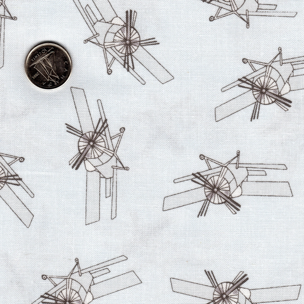 Mighty Machines by Lydia Nelson for Moda - Background Very Light Gray Airplanes