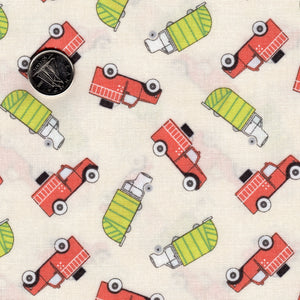 Mighty Machines by Lydia Nelson for Moda - Creamy Garbage and Fire Trucks Green and Coral
