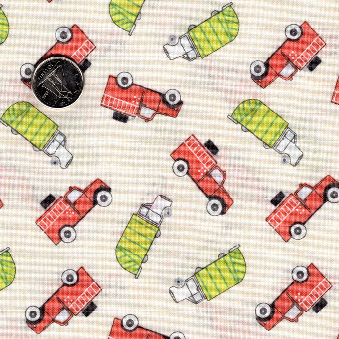 Mighty Machines by Lydia Nelson for Moda Creamy Garbage and Fire Trucks Green and Coral
