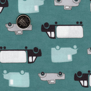 Mighty Machines par Lydia Nelson pour Moda - Cloudburst Teal Background Big Cars and Trucks
